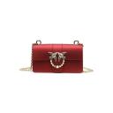 Fashion Plain Metal Ring Pearl Decoration Crossbody Clutch Bag 20*8*12 CM