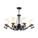 Traditional Cylinder Shade Chandelier Metal 8 Lights Black Ceiling Light for Living Room Bar
