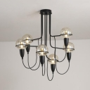 Traditional Globe Chandelier Light Clear Glass 6/8/12 Lights Black Pendant Lamp for Dining Room
