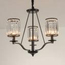Simple Style Black Suspension Light Cylinder Crystal Shade 3/6 Lights Metal Chandelier for Hallway