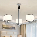 3/6/8 Lights Square Pendant Light Modern Style Metal Chandelier in White for Study Room Foyer