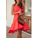 Womens Stylish Solid Color Round Neck Sleeveless Ruffled Swing Tank Dress