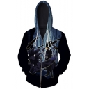 New Stylish Comic Anime Cosplay Dark Forest 3D Printed Long Sleeve Zip Up Blue Hoodie