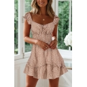 Women's Hot Fashion Floral Printed Square Neck Short Sleeve Gathered Waist A-line Dress