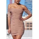 Women's Hot Fashion Plain Pattern Off The Shoulder Short Sleeve Pleated Detail Mini Bodycon Dress