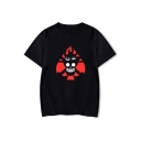 Cool Comic Fire Skull Printed Round Neck Short Sleeve Loose Relaxed T-Shirt