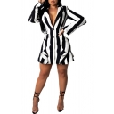 Ladies Colorblock Striped Lapel Button-down Long Sleeve Patched Detail Mini Blazer Dress