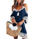 Summer Trendy Plain Printed Halter Cut Out Half Sleeve Tassel Hem Mini Swing Dress