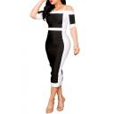 Black and White Color Block Spaghetti Straps Short Sleeve Split Back Midi Bodycon Dress