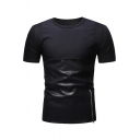 Men's Unique Leather Patchwork Zip Embellished Round Neck Short Sleeve Fitted T-Shirt