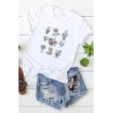 Summer Hot Fashion Floral Printed Basic Round Neck Short Sleeve Relaxed Graphic Tee