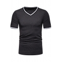 Men's New Stylish Patched V-Neck Short Sleeve Plain Fitted T-Shirt