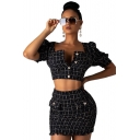 Women's Black Chic Tartan Plaid Printed V-Neck Cropped Top with Mini Bodycon Skirt Tweed Two-Piece Set