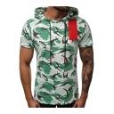 Summer Cool Camouflage Pattern Short Sleeve Hooded Drawstring T-Shirt for Men