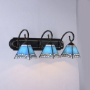 Trapezoid Dining Room Sconce Lamp Glass 3 Lights Mediterranean Style Wall Light in Blue
