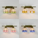 Tiffany Style Dome Wall Light Stained Glass 2 Lights Sconce Light for Dining Room Hallway