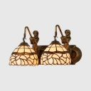 Antique Style Dome Wall Light Stained Glass 2 Lights Sconce Light with Mermaid for Bathroom