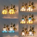 Tiffany Style Dome Wall Light 2 Lights Stained Glass Wall Sconce with Mermaid Decoration for Cafe