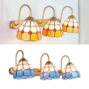 Living Room Dome Wall Light Stained Glass 3 Lights Mediterranean Style Blue/Yellow Sconce Light