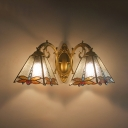 Tiffany Style Craftsman Wall Sconce Stained Glass 2 Lights Dragonfly Wall Light for Bathroom