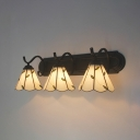 Shop Hotel Conical Wall Sconce with Leaf Decoration Glass Rustic Style Beige Wall Light