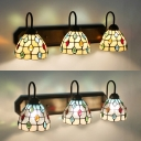 Beige/Clear Glass Dome Wall Sconce Living Room Cafe 3 Lights Tiffany Style Wall Light