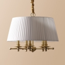 Beige/White Tapered Chandelier 5 Lights Elegant Style Fabric Hanging Light for Hotel Bedroom