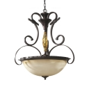 Frosted Glass Domed Chandelier Light 3 Lights American Rustic Ceiling Light for Dining Room