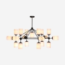 Traditional Cylinder Shade Chandelier Frosted Glass 19 Lights Black Pendant Light for Cloth Shop