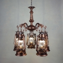 Bronze/Copper Kerosene Hanging Lamp 5 Lights Industrial Metal Chandelier for Foyer