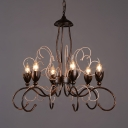 Metal Chandelier Lighting Dining Room 6 Lights Antique Hanging Light in Brown for Foyer
