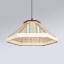 White/Coffee/Beige Hexagon Hanging Light Modern Fabric Shade 1 Bulb Pendant Lamp for Restaurant