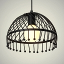 Antique Black Hanging Light with Drum Metal Single Light Pendant Lighting for Foyer