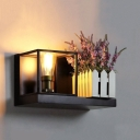 Metal Rectangle Wall Light Bedroom Bathroom Single Light Rustic Wall Sconce in Black