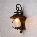 Single Light Scalloped Edged Sconce Vintage Textured Glass Wall Lamp for Front Door