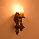 Antique Candle/Curved Wall Sconce Kitchen 1/2 Lights Metal Sconce Wall Light in Bronze