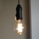 Industrial Open Bulb Chandelier 2 Lights Metal Hanging Light Fixture in Black for Bar