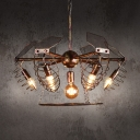 Wire Frame Chandelier Dining Room 7 Lights Metal Antique Chandelier Light in Bronze