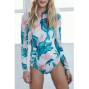 Fashion Tropical Floral Printed Zipper Front Long Sleeve Green One Piece Swimwear