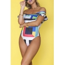 Hot Popular Off the Shoulder Ruffle Hem Colorblock Geometric Print One Piece Swimsuit for Women