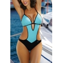 Womens New Chic Color Block Fashion Cut Out Monokini One Piece Swimsuit Swimwear