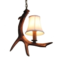 Antique Style Antlers Pendant Light Single Light Resin Ceiling Pendant with White Tapered Shade for Foyer