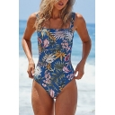 Summer Tropical Leaf Floral Printed Square Neck Womens One Piece Swimsuit
