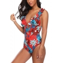 Summer Trendy Floral Printed Ruffled Hem Sexy Plunged Neck One Piece Swimsuit