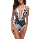 Summer Trendy Tropical Leaf Printed Sexy Plunging Neck High Leg Womens Blue One Piece Swimsuit Swimwear