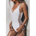 Women's Solid Color Tied Straps Sexy Plunged Neck Lace-Up Side One Piece Swimsuit Swimwear