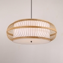 Birdcage Shape LED Pendant Lighting Living Room Wood Single Light Rustic Style Pendant Lamp