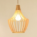 Vintage Style Beige Hanging Light with Barn/Saucer/Curved Shape Single Light Bamboo Pendant Lighting