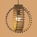 Global Shape Bedroom Ceiling Light Fixture One Light Country Style Bamboo Pendant Lighting in Beige