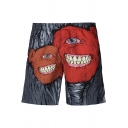 New Stylish Monster Printed Men's Holiday Beach Grey Swim Trunks with Lining
